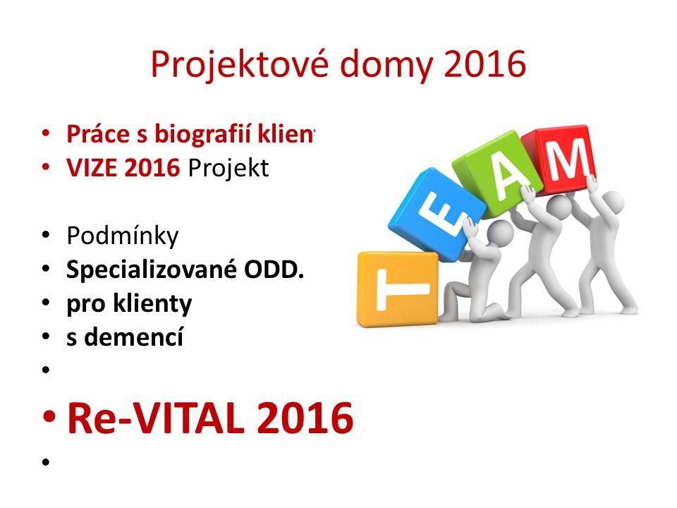 Projektové domy 2016 Práce s biografií klienta VIZE 2016 Projekt Podmínky Specializované ODD. pro klienty s demencí Re-VITAL 2016