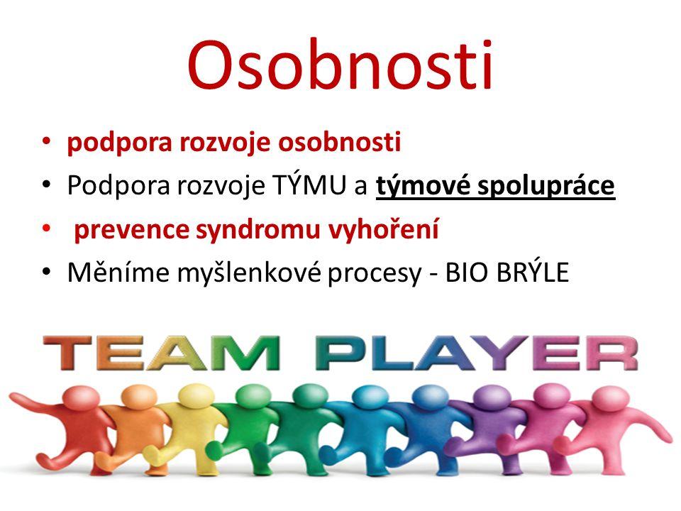 Osobnosti podpora rozvoje osobnosti Podpora rozvoje TÝMU a týmové spolupráce prevence syndromu vyhoření Měníme myšlenkové procesy - BIO BRÝLE