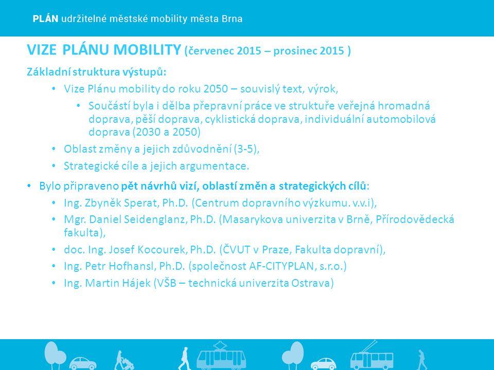 VIZE PLÁNU MOBILITY (červenec 2015 – prosinec 2015 ) Základní struktura výstupů: Vize Plánu mobility do roku 2050 – souvislý text, výrok, Součástí byla i dělba přepravní práce ve struktuře veřejná hromadná doprava, pěší doprava, cyklistická doprava, individuální automobilová doprava (2030 a 2050) Oblast změny a jejich zdůvodnění (3-5), Strategické cíle a jejich argumentace.