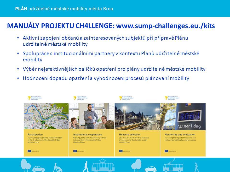 MANUÁLY PROJEKTU CH4LLENGE: www.sump-challenges.eu./kits Aktivní zapojení občanů a zainteresovaných subjektů při přípravě Plánu udržitelné městské mobility Spolupráce s institucionálními partnery v kontextu Plánů udržitelné městské mobility Výběr nejefektivnějších balíčků opatření pro plány udržitelné městské mobility Hodnocení dopadu opatření a vyhodnocení procesů plánování mobility