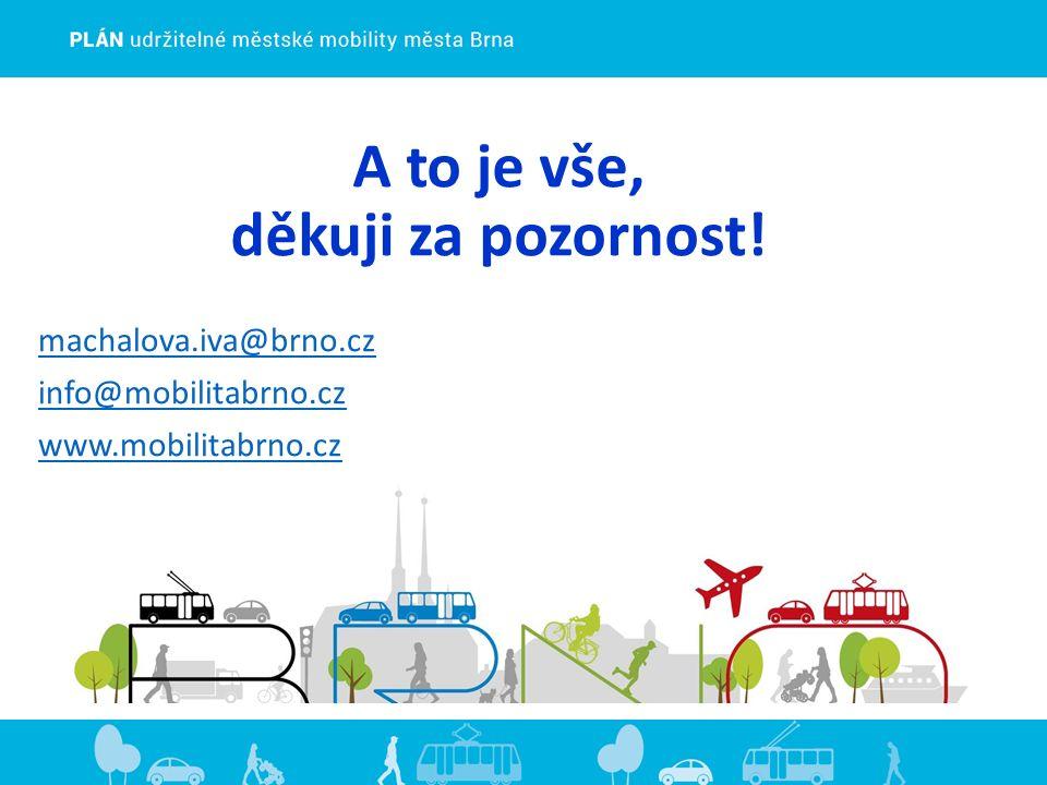 A to je vše, děkuji za pozornost! machalova.iva@brno.cz info@mobilitabrno.cz www.mobilitabrno.cz