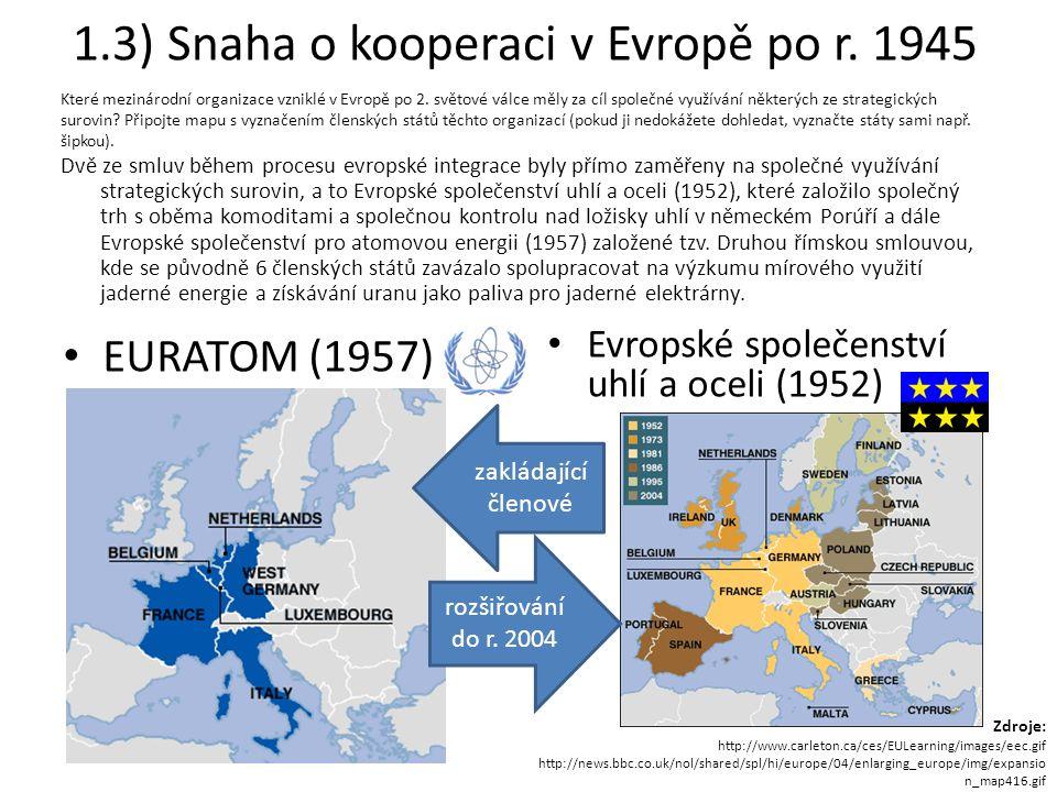 1.3) Snaha o kooperaci v Evropě po r.