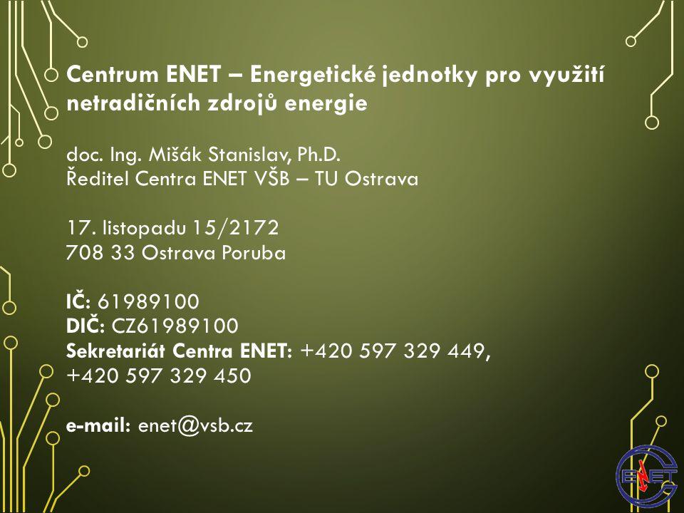 Centrum ENET – Energetické jednotky pro využití netradičních zdrojů energie doc.