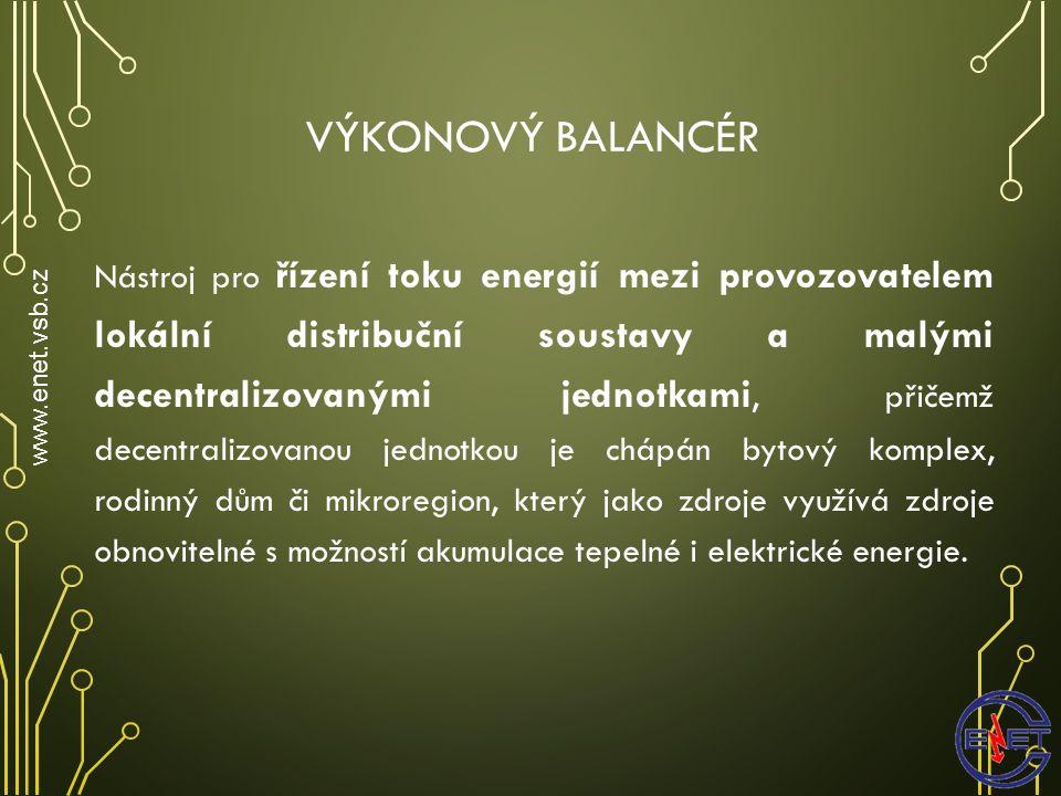 VÝKONOVÝ BALANCÉR www.enet.vsb.cz Nástroj pro řízení toku energií mezi provozovatelem lokální distribuční soustavy a malými decentralizovanými jednotkami, přičemž decentralizovanou jednotkou je chápán bytový komplex, rodinný dům či mikroregion, který jako zdroje využívá zdroje obnovitelné s možností akumulace tepelné i elektrické energie.