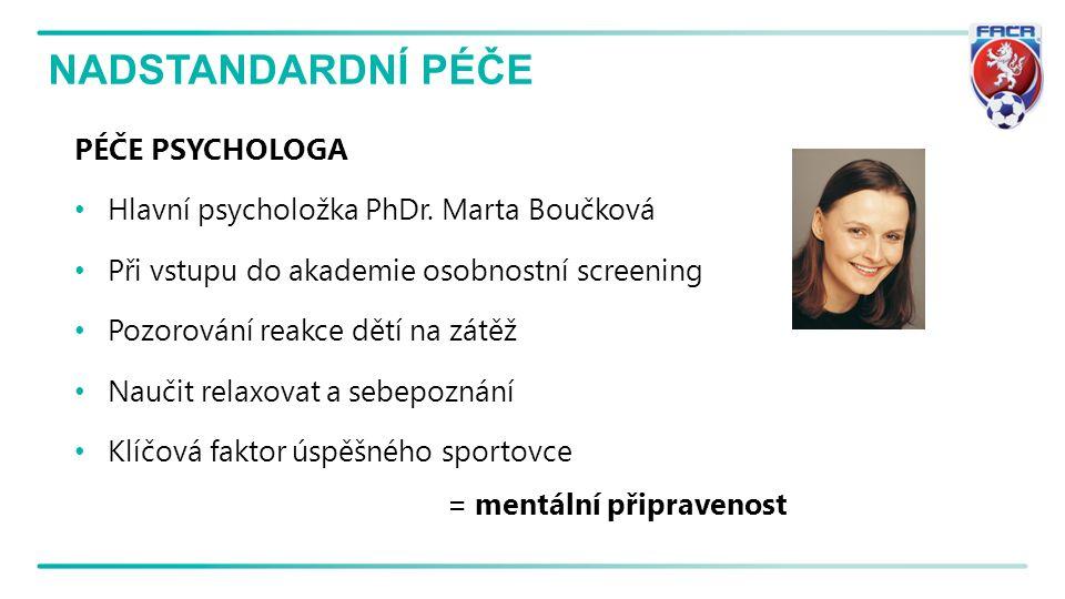 NADSTANDARDNÍ PÉČE PÉČE PSYCHOLOGA Hlavní psycholožka PhDr. Marta Boučková Při vstupu do akademie osobnostní screening Pozorování reakce dětí na zátěž