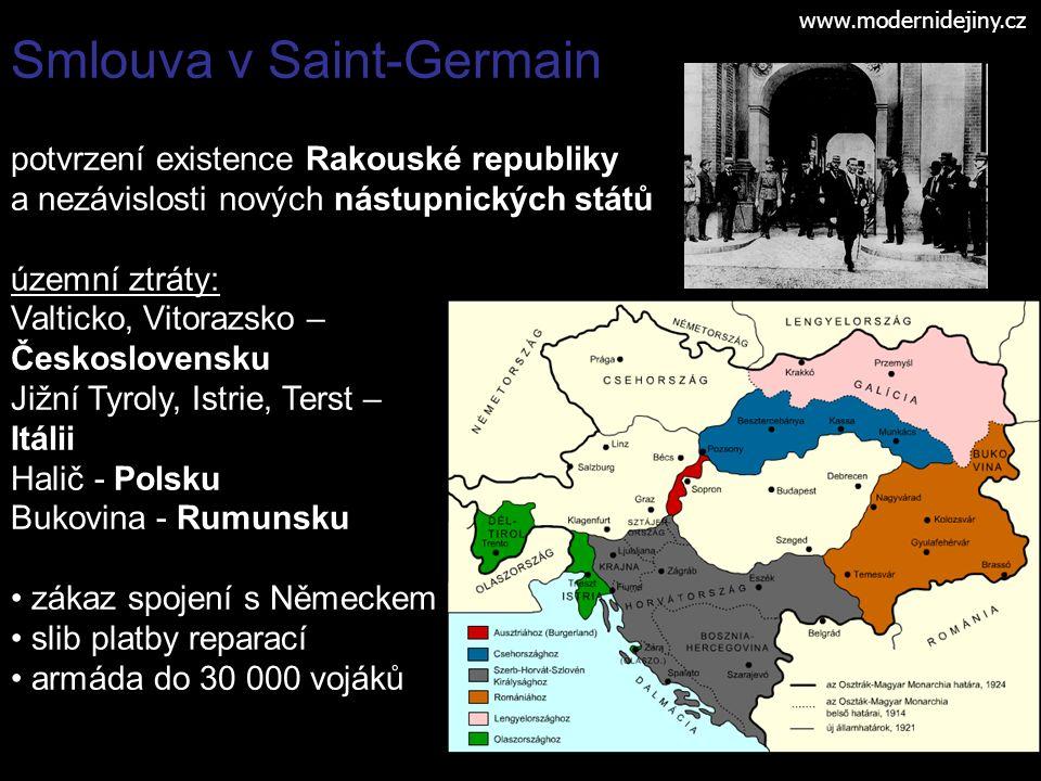1920 Trianon - smlouva s Maďarskem ztráty oproti 1914: 70 % území 60 % obyvatelstva www.modernidejiny.cz