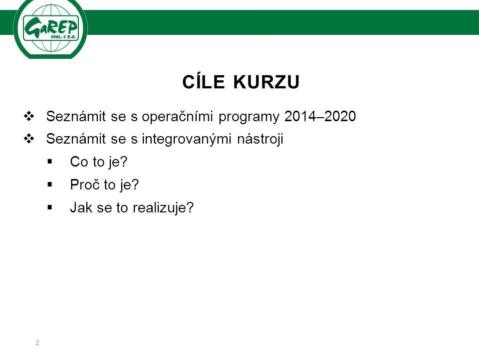 CÍLE KURZU  Seznámit se s operačními programy 2014–2020  Seznámit se s integrovanými nástroji  Co to je.