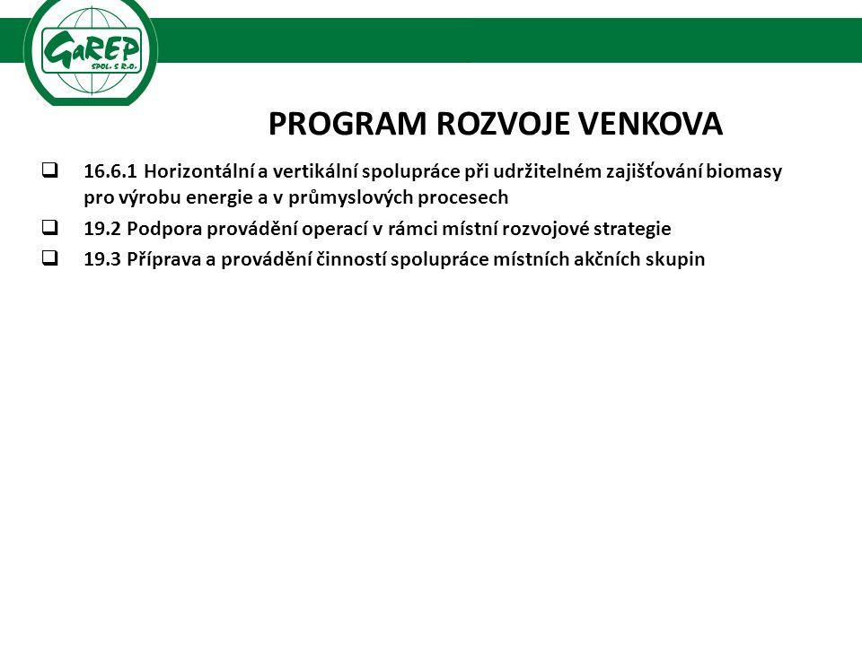 PROGRAM ROZVOJE VENKOVA  16.6.1 Horizontální a vertikální spolupráce při udržitelném zajišťování biomasy pro výrobu energie a v průmyslových procesech  19.2 Podpora provádění operací v rámci místní rozvojové strategie  19.3 Příprava a provádění činností spolupráce místních akčních skupin