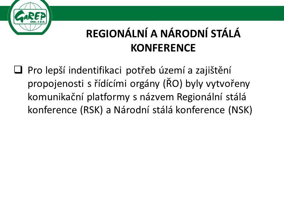 REGIONÁLNÍ A NÁRODNÍ STÁLÁ KONFERENCE  Pro lepší indentifikaci potřeb území a zajištění propojenosti s řídícími orgány (ŘO) byly vytvořeny komunikační platformy s názvem Regionální stálá konference (RSK) a Národní stálá konference (NSK)