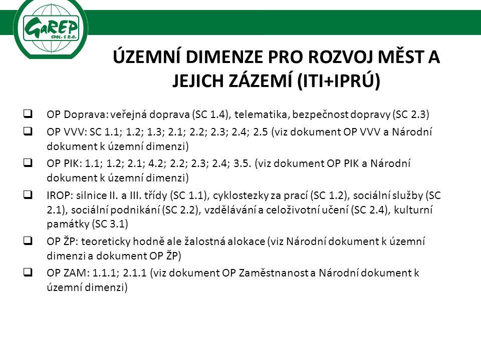 ÚZEMNÍ DIMENZE PRO ROZVOJ MĚST A JEJICH ZÁZEMÍ (ITI+IPRÚ)  OP Doprava: veřejná doprava (SC 1.4), telematika, bezpečnost dopravy (SC 2.3)  OP VVV: SC 1.1; 1.2; 1.3; 2.1; 2.2; 2.3; 2.4; 2.5 (viz dokument OP VVV a Národní dokument k územní dimenzi)  OP PIK: 1.1; 1.2; 2.1; 4.2; 2.2; 2.3; 2.4; 3.5.
