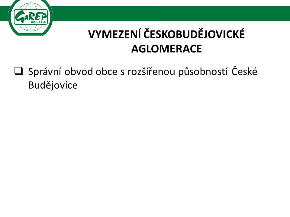 VYMEZENÍ ČESKOBUDĚJOVICKÉ AGLOMERACE  Správní obvod obce s rozšířenou působností České Budějovice