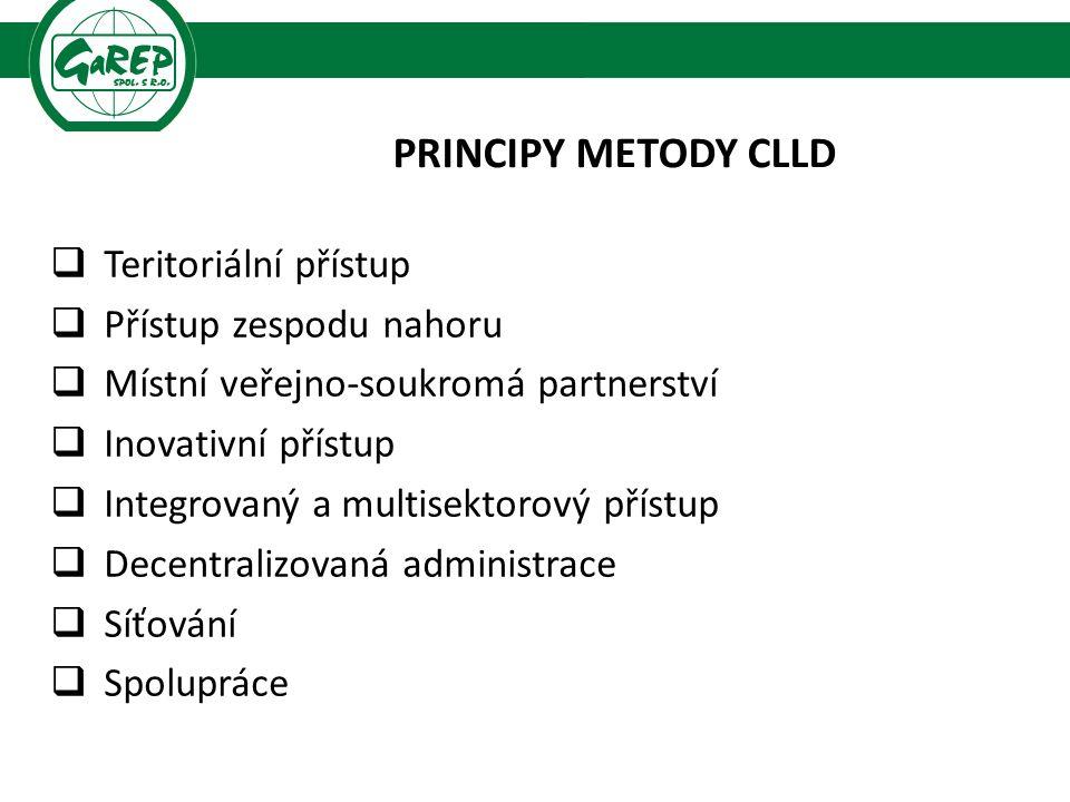 PRINCIPY METODY CLLD  Teritoriální přístup  Přístup zespodu nahoru  Místní veřejno-soukromá partnerství  Inovativní přístup  Integrovaný a multisektorový přístup  Decentralizovaná administrace  Síťování  Spolupráce