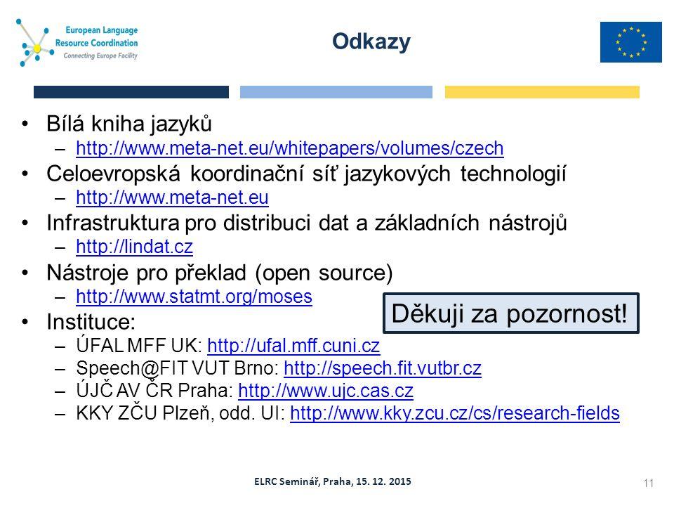 ELRC Seminář, Praha, 15. 12. 2015 Odkazy 11 Bílá kniha jazyků –http://www.meta-net.eu/whitepapers/volumes/czechhttp://www.meta-net.eu/whitepapers/volu
