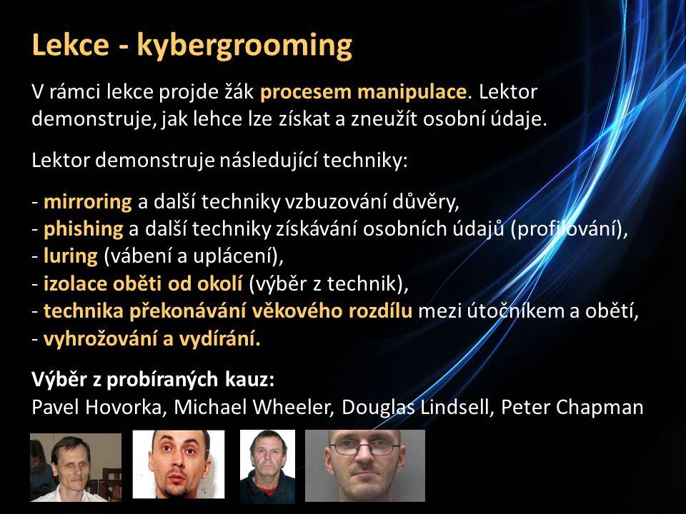Lekce - kybergrooming V rámci lekce projde žák procesem manipulace.