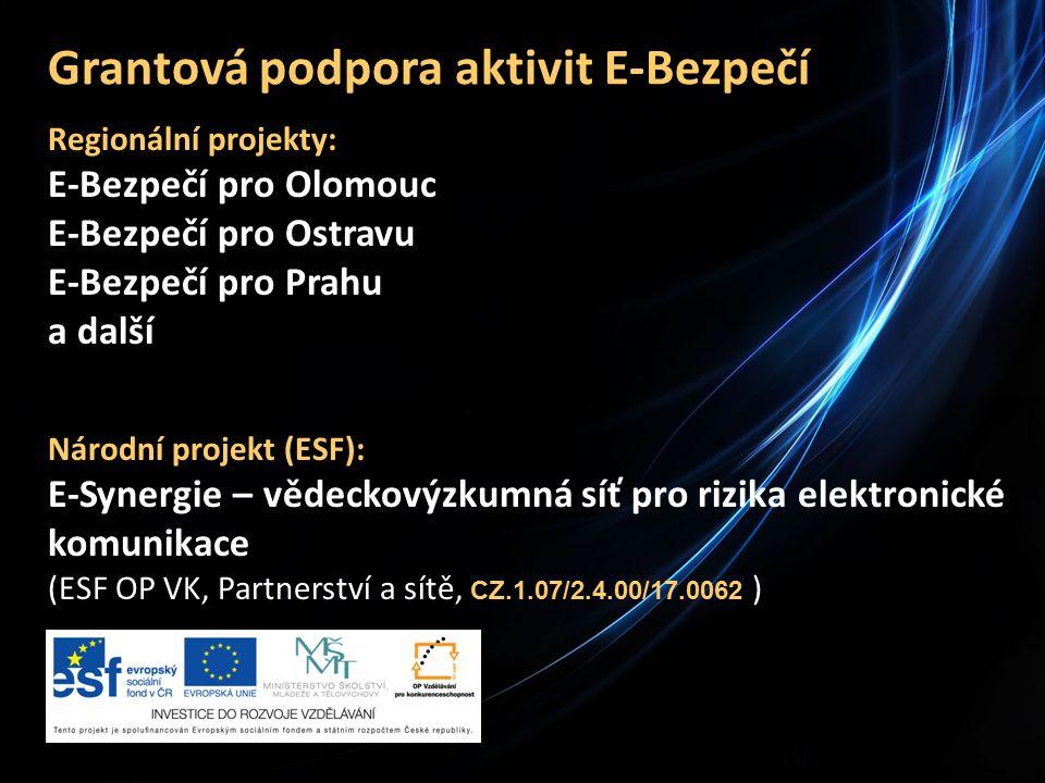 Grantová podpora aktivit E-Bezpečí Regionální projekty: E-Bezpečí pro Olomouc E-Bezpečí pro Ostravu E-Bezpečí pro Prahu a další Národní projekt (ESF): E-Synergie – vědeckovýzkumná síť pro rizika elektronické komunikace (ESF OP VK, Partnerství a sítě, CZ.1.07/2.4.00/17.0062 )