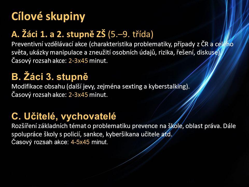 Cílové skupiny A. Žáci 1. a 2. stupně ZŠ (5.–9.