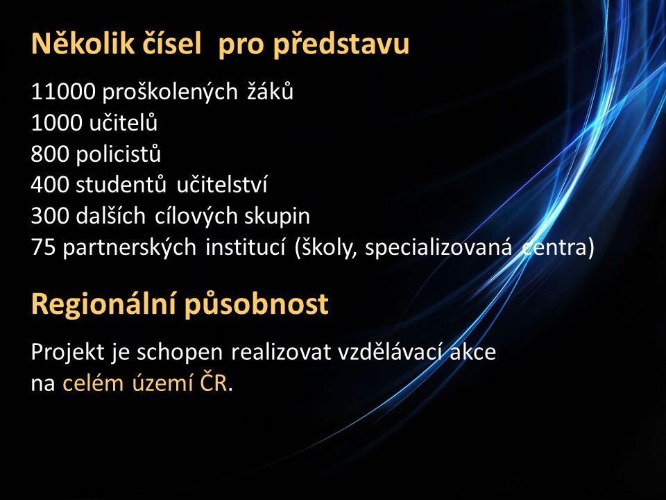 Několik čísel pro představu 11000 proškolených žáků 1000 učitelů 800 policistů 400 studentů učitelství 300 dalších cílových skupin 75 partnerských institucí (školy, specializovaná centra) Regionální působnost Projekt je schopen realizovat vzdělávací akce na celém území ČR.