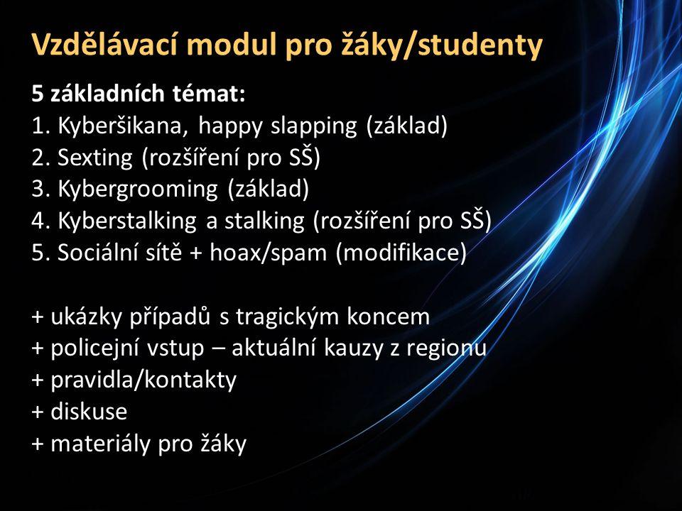 Vzdělávací modul pro žáky/studenty 5 základních témat: 1.