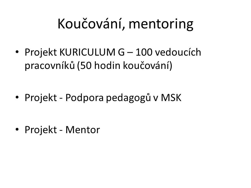 Koučování, mentoring Projekt KURICULUM G – 100 vedoucích pracovníků (50 hodin koučování) Projekt - Podpora pedagogů v MSK Projekt - Mentor