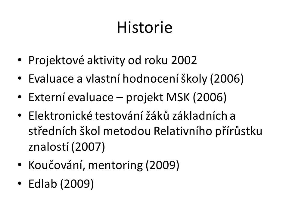 Historie Projektové aktivity od roku 2002 Evaluace a vlastní hodnocení školy (2006) Externí evaluace – projekt MSK (2006) Elektronické testování žáků základních a středních škol metodou Relativního přírůstku znalostí (2007) Koučování, mentoring (2009) Edlab (2009)