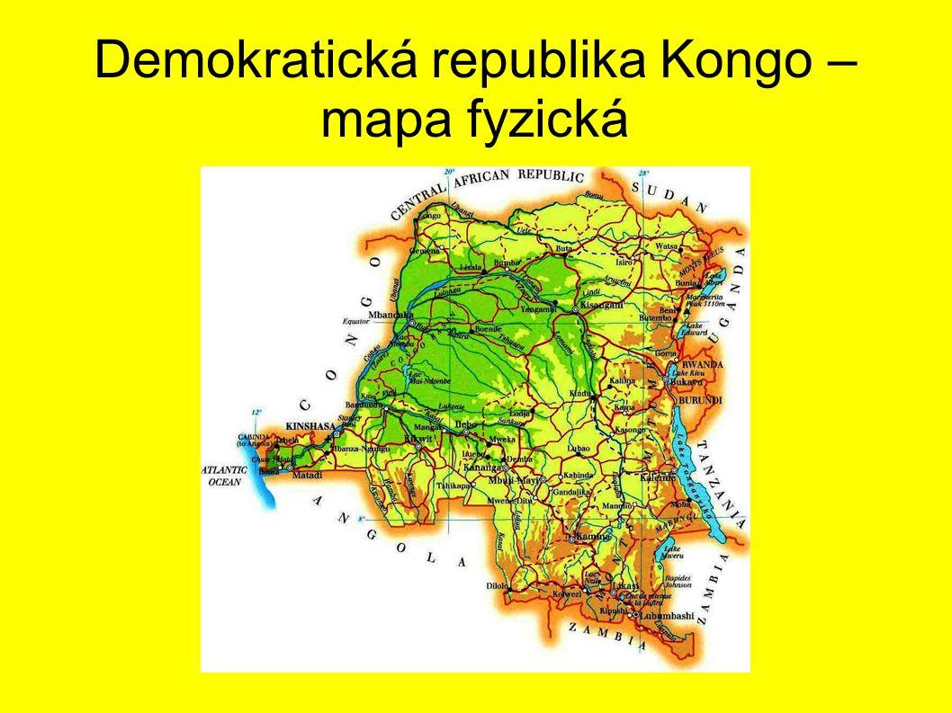 Demokratická republika Kongo – mapa fyzická