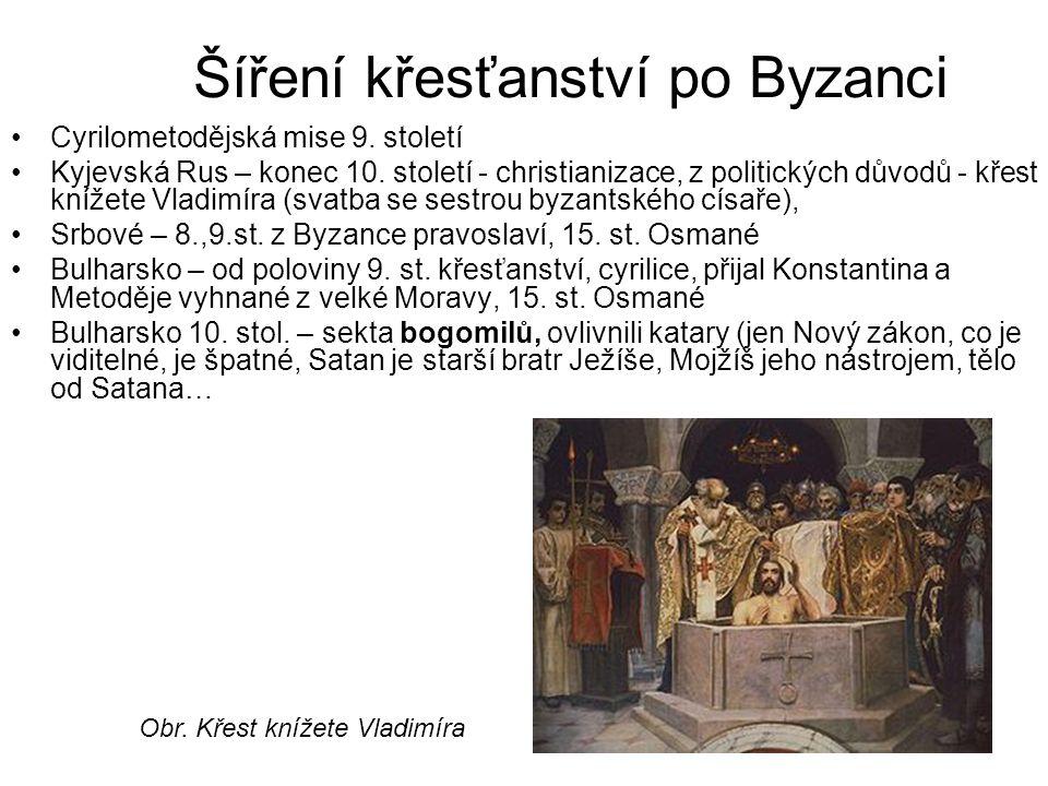 Šíření křesťanství po Byzanci Cyrilometodějská mise 9. století Kyjevská Rus – konec 10. století - christianizace, z politických důvodů - křest knížete