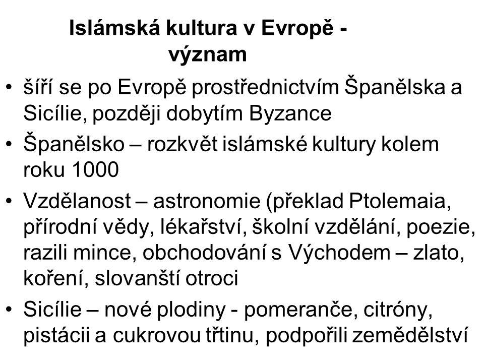 Islámská kultura v Evropě - význam šíří se po Evropě prostřednictvím Španělska a Sicílie, později dobytím Byzance Španělsko – rozkvět islámské kultury