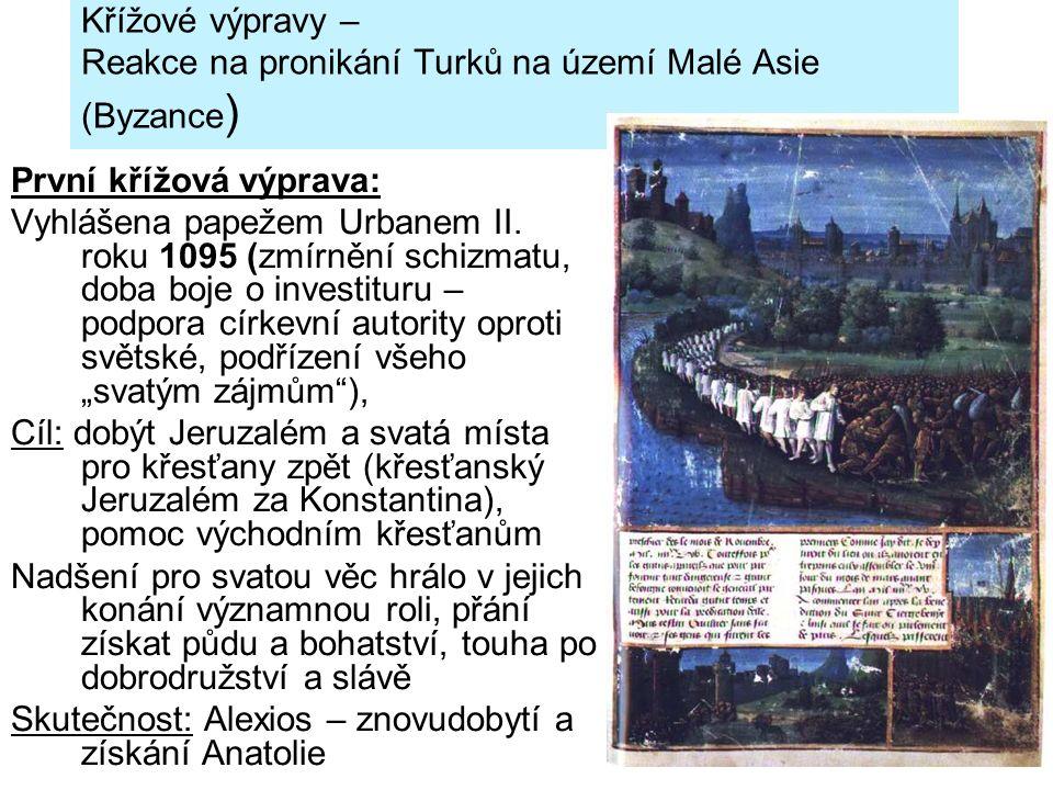 Křížové výpravy – Reakce na pronikání Turků na území Malé Asie (Byzance ) První křížová výprava: Vyhlášena papežem Urbanem II. roku 1095 (zmírnění sch
