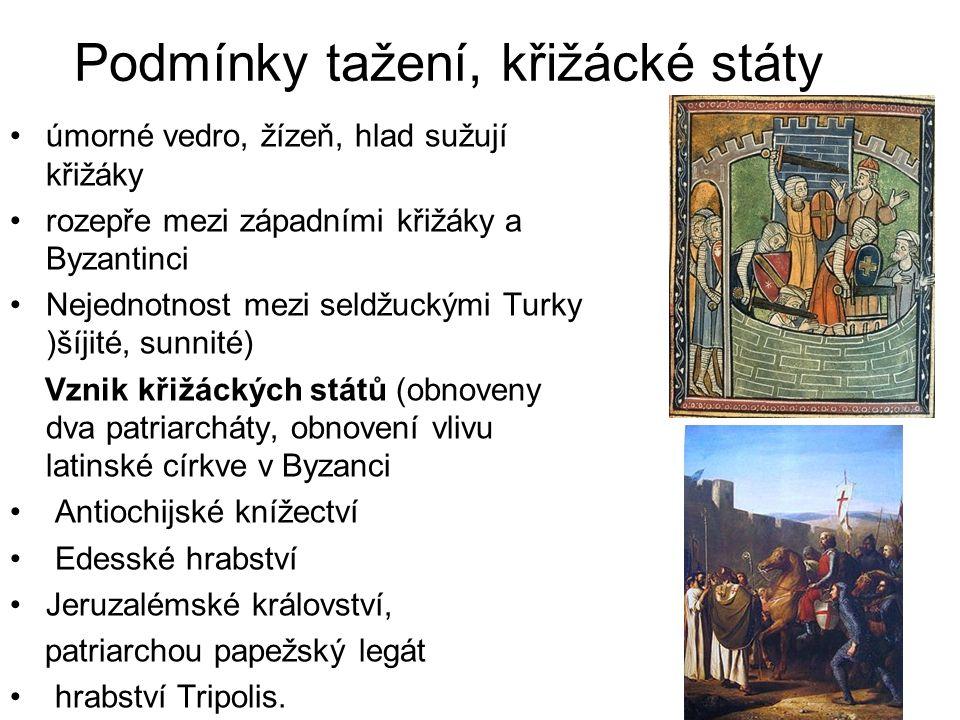 Podmínky tažení, křižácké státy úmorné vedro, žízeň, hlad sužují křižáky rozepře mezi západními křižáky a Byzantinci Nejednotnost mezi seldžuckými Tur