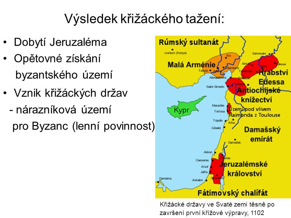 Výsledek křižáckého tažení: Dobytí Jeruzaléma Opětovné získání byzantského území Vznik křižáckých držav - nárazníková území pro Byzanc (lenní povinnos
