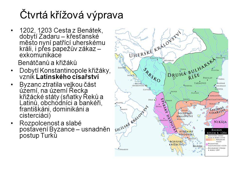 Čtvrtá křížová výprava 1202, 1203 Cesta z Benátek, dobytí Zadaru – křesťanské město nyní patřící uherskému králi, i přes papežův zákaz – exkomunikace