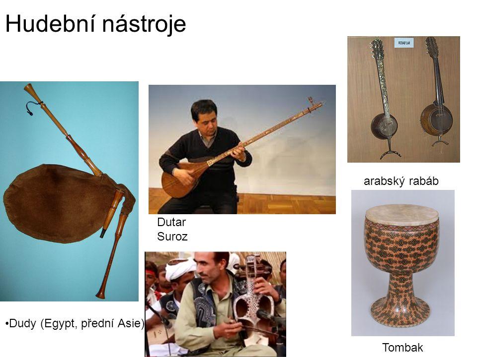 Hudební nástroje Dudy (Egypt, přední Asie) Dutar Suroz arabský rabáb Tombak