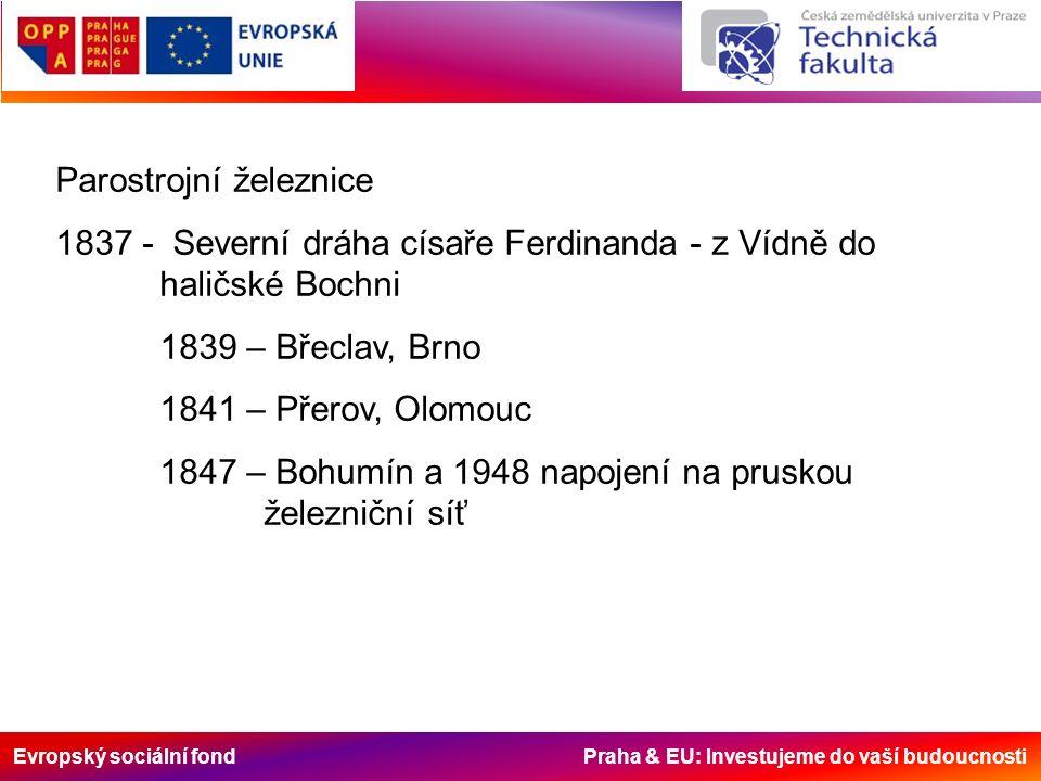 Evropský sociální fond Praha & EU: Investujeme do vaší budoucnosti Parostrojní železnice 1837 - Severní dráha císaře Ferdinanda - z Vídně do haličské Bochni 1839 – Břeclav, Brno 1841 – Přerov, Olomouc 1847 – Bohumín a 1948 napojení na pruskou železniční síť