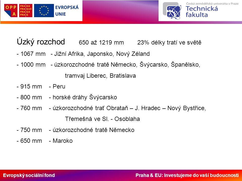Evropský sociální fond Praha & EU: Investujeme do vaší budoucnosti Úzký rozchod 650 až 1219 mm 23% délky tratí ve světě - 1067 mm - Jižní Afrika, Japonsko, Nový Zéland - 1000 mm - úzkorozchodné tratě Německo, Švýcarsko, Španělsko, tramvaj Liberec, Bratislava - 915 mm - Peru - 800 mm - horské dráhy Švýcarsko - 760 mm - úzkorozchodné trať Obrataň – J.