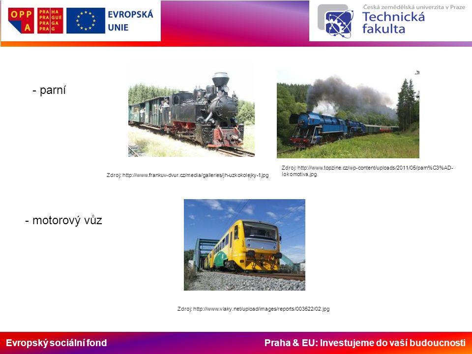 Evropský sociální fond Praha & EU: Investujeme do vaší budoucnosti - parní Zdroj: http://www.frankuv-dvur.cz/media/galleries/jh-uzkokolejky-1.jpg Zdroj: http://www.topzine.cz/wp-content/uploads/2011/05/parn%C3%AD- lokomotiva.jpg - motorový vůz Zdroj: http://www.vlaky.net/upload/images/reports/003522/02.jpg