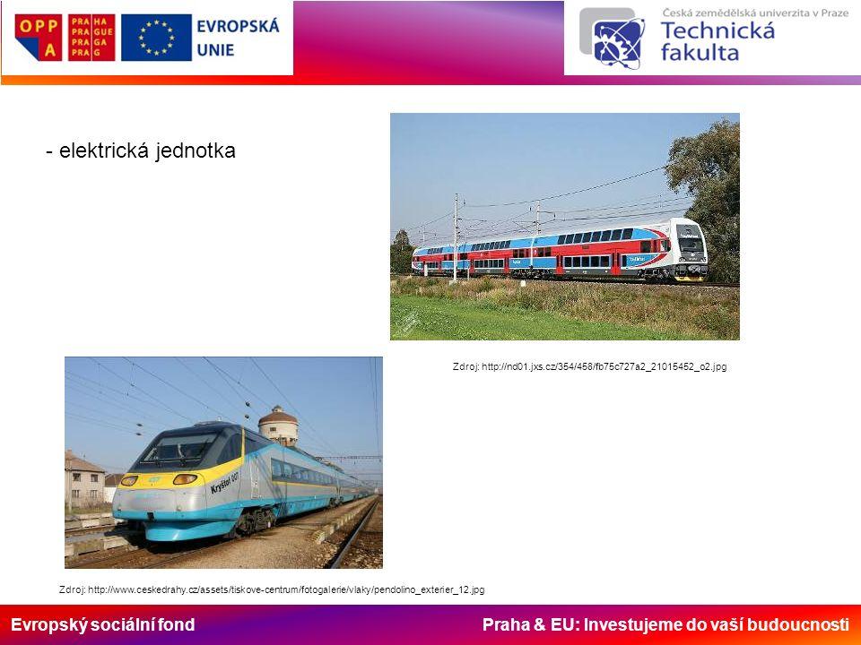 Evropský sociální fond Praha & EU: Investujeme do vaší budoucnosti - elektrická jednotka Zdroj: http://nd01.jxs.cz/354/458/fb75c727a2_21015452_o2.jpg Zdroj: http://www.ceskedrahy.cz/assets/tiskove-centrum/fotogalerie/vlaky/pendolino_exterier_12.jpg
