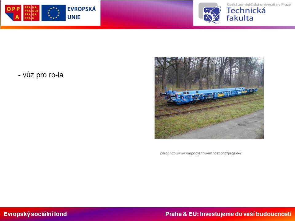 Evropský sociální fond Praha & EU: Investujeme do vaší budoucnosti - vůz pro ro-la Zdroj: http://www.vagongyar.hu/en/index.php pageid=2