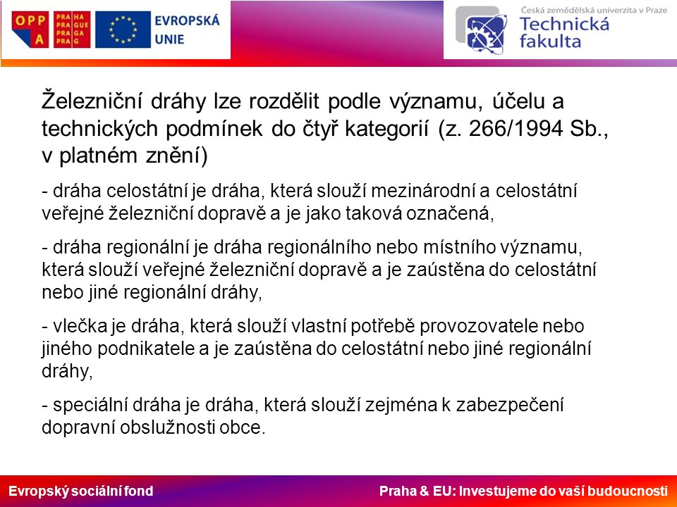 Evropský sociální fond Praha & EU: Investujeme do vaší budoucnosti Železniční dráhy lze rozdělit podle významu, účelu a technických podmínek do čtyř kategorií (z.