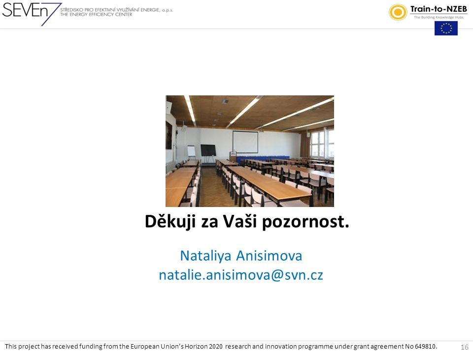 Nataliya Anisimova natalie.anisimova@svn.cz Děkuji za Vaši pozornost. 16 This project has received funding from the European Union's Horizon 2020 rese