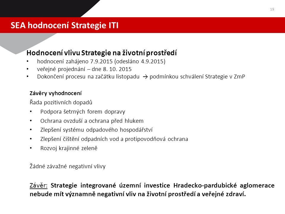 SEA hodnocení Strategie ITI 19 Hodnocení vlivu Strategie na životní prostředí hodnocení zahájeno 7.9.2015 (odesláno 4.9.2015) veřejné projednání – dne 8.