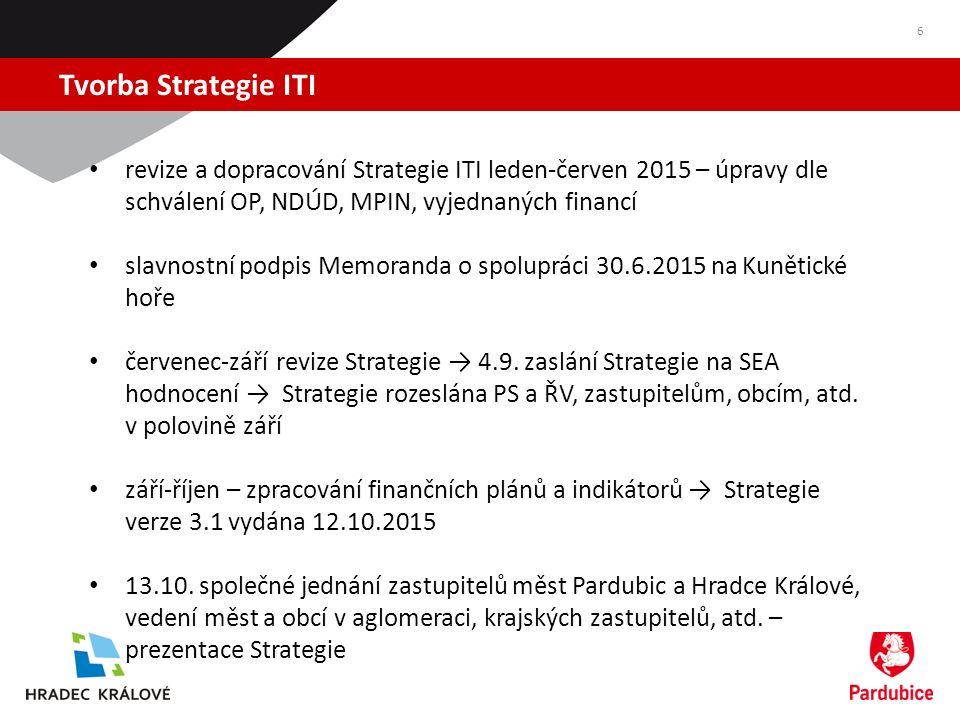 Tvorba Strategie ITI 6 revize a dopracování Strategie ITI leden-červen 2015 – úpravy dle schválení OP, NDÚD, MPIN, vyjednaných financí slavnostní podpis Memoranda o spolupráci 30.6.2015 na Kunětické hoře červenec-září revize Strategie → 4.9.