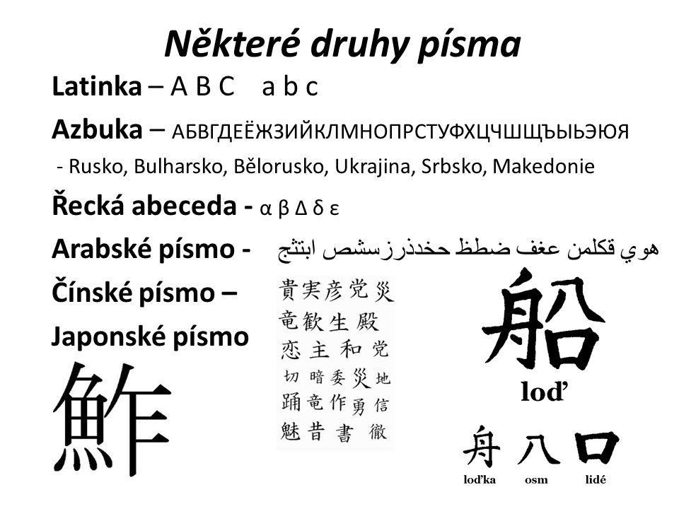 Některé druhy písma Latinka – A B C a b c Azbuka – АБВГДЕЁЖЗИЙКЛМНОПРСТУФХЦЧШЩЪЫЬЭЮЯ - Rusko, Bulharsko, Bělorusko, Ukrajina, Srbsko, Makedonie Řecká abeceda - α β Δ δ ε Arabské písmo - ابتثج حخدذرزسشص ضطظ عغف قكلمن هوي Čínské písmo – Japonské písmo