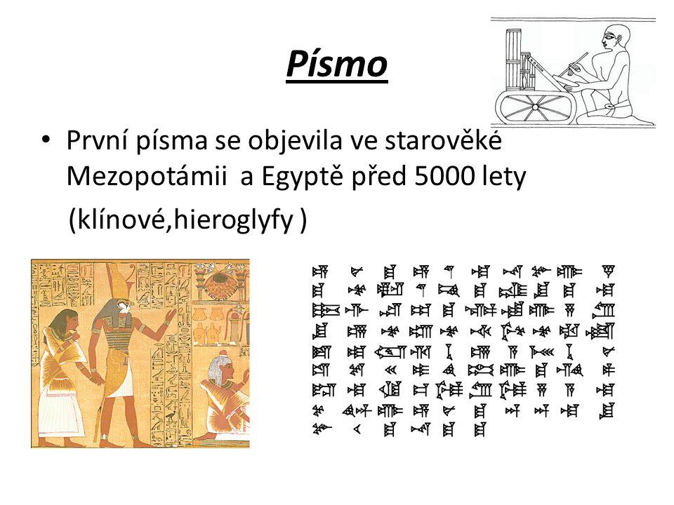 Písmo První písma se objevila ve starověké Mezopotámii a Egyptě před 5000 lety (klínové,hieroglyfy )