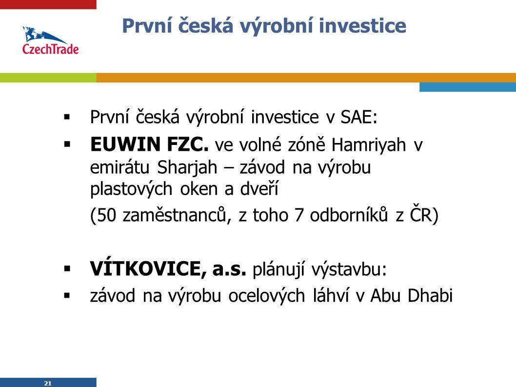 21 První česká výrobní investice  První česká výrobní investice v SAE:  EUWIN FZC.
