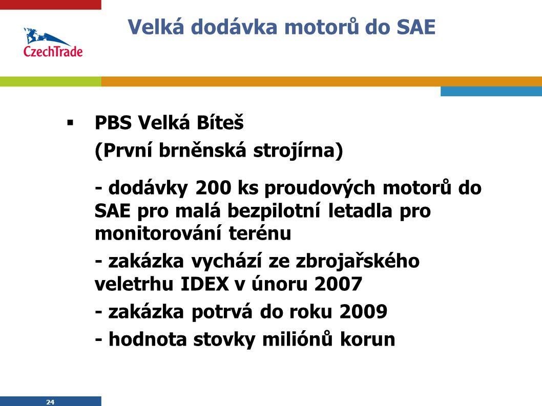 24 Velká dodávka motorů do SAE  PBS Velká Bíteš (První brněnská strojírna) - dodávky 200 ks proudových motorů do SAE pro malá bezpilotní letadla pro monitorování terénu - zakázka vychází ze zbrojařského veletrhu IDEX v únoru 2007 - zakázka potrvá do roku 2009 - hodnota stovky miliónů korun
