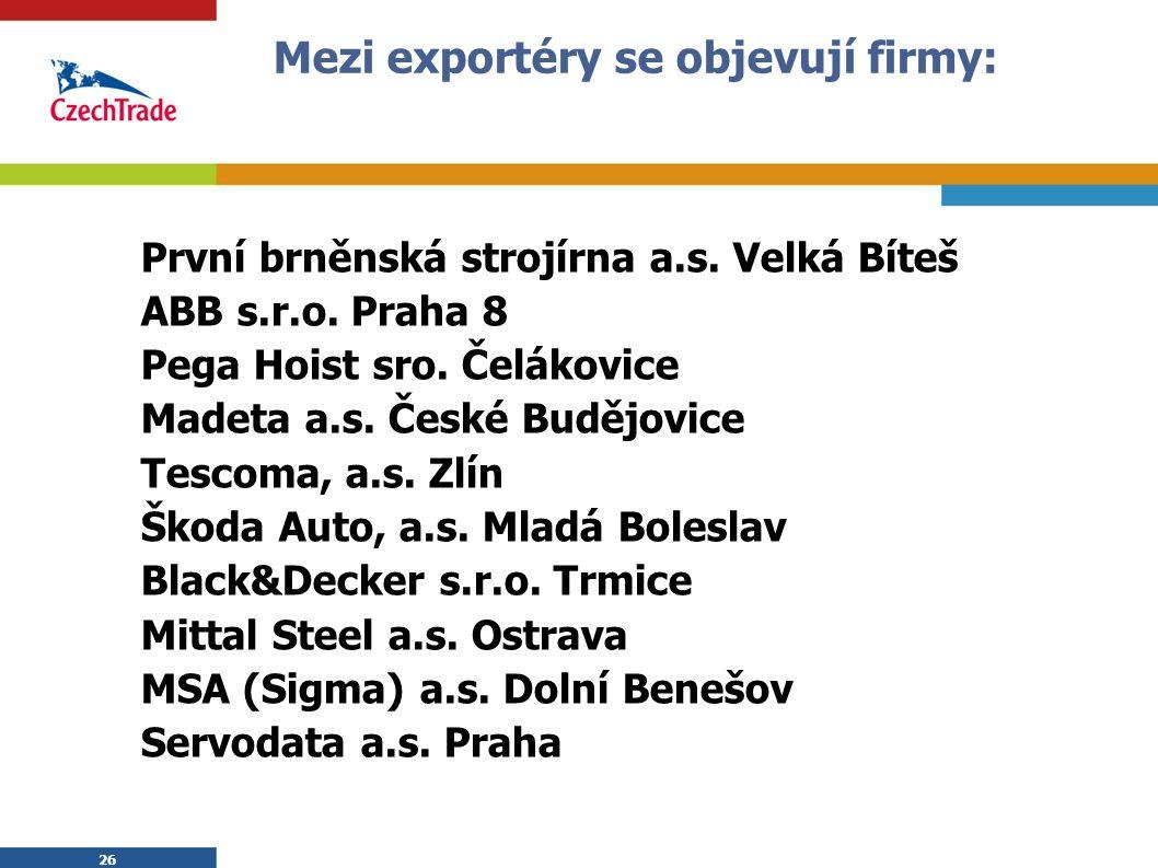 26 Mezi exportéry se objevují firmy: První brněnská strojírna a.s.
