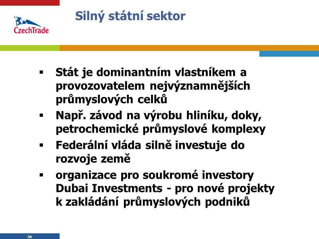 36 Silný státní sektor  Stát je dominantním vlastníkem a provozovatelem nejvýznamnějších průmyslových celků  Např.
