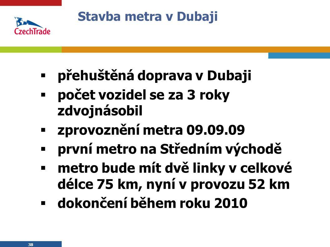 38 Stavba metra v Dubaji  přehuštěná doprava v Dubaji  počet vozidel se za 3 roky zdvojnásobil  zprovoznění metra 09.09.09  první metro na Středním východě  metro bude mít dvě linky v celkové délce 75 km, nyní v provozu 52 km  dokončení během roku 2010