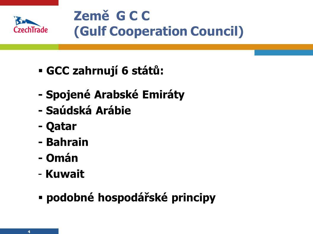 4 4 Země G C C (Gulf Cooperation Council)  GCC zahrnují 6 států: - Spojené Arabské Emiráty - Saúdská Arábie - Qatar - Bahrain - Omán - Kuwait  podobné hospodářské principy