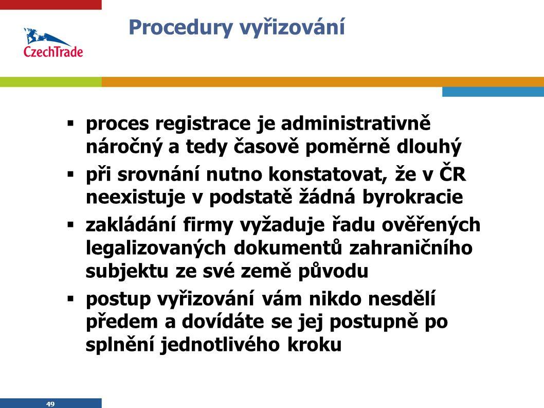 49 Procedury vyřizování  proces registrace je administrativně náročný a tedy časově poměrně dlouhý  při srovnání nutno konstatovat, že v ČR neexistuje v podstatě žádná byrokracie  zakládání firmy vyžaduje řadu ověřených legalizovaných dokumentů zahraničního subjektu ze své země původu  postup vyřizování vám nikdo nesdělí předem a dovídáte se jej postupně po splnění jednotlivého kroku